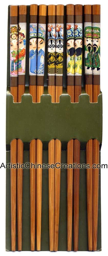 Chinese Home Decor / Chinese Housewarming Gifts / Chinese Tableware: Chinese Wood Chopsticks - Chinese Opera (5 Pairs)
