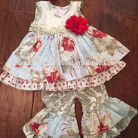 bulk cheap sale baby remake clothing remake smocking dress top&ruffle capris set tunic trendy outfits set