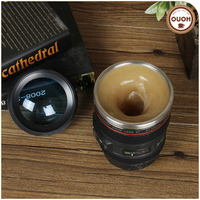 Novelty Design Lazy 24-105 Camera Lens Battery Operated Self Stirring Coffee Mug