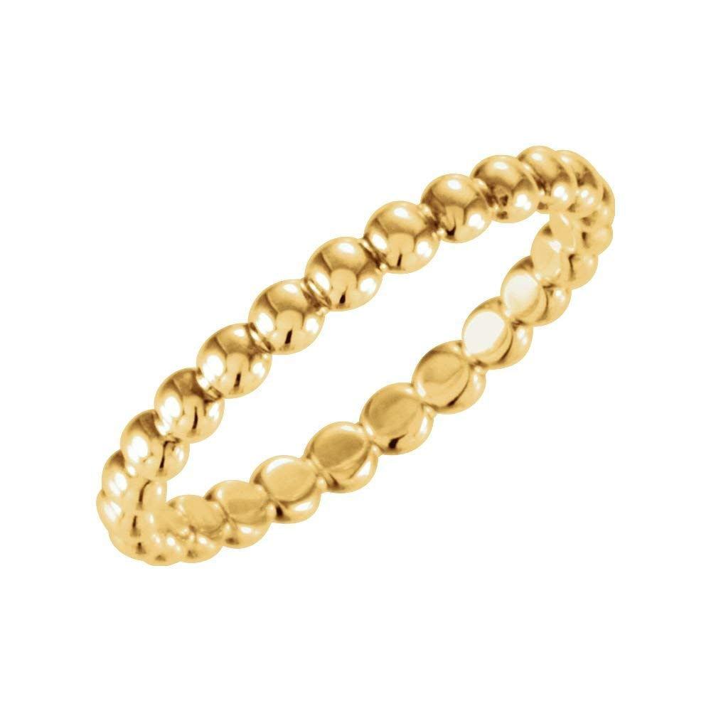 JewelryWeb 14k Yellow Gold 2.5mm Size 6 Metal Fashion Stackable Ring
