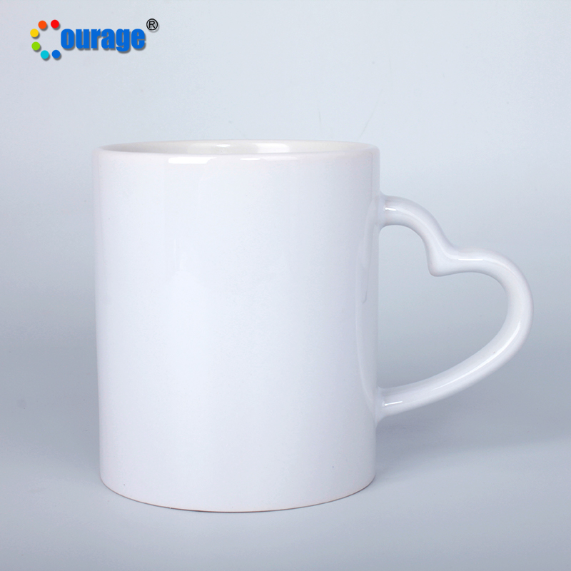 Sublimation blanks 11oz ceramic custom logo heart handle mug cup