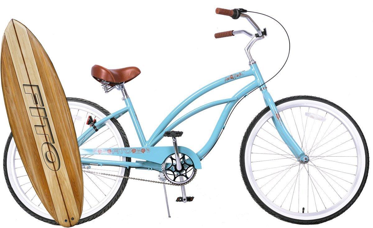 "Anti-Rust & Light Weight Aluminum Alloy Frame, Fito Marina Alloy Shimano Nexus 3-speed for women - Sky Blue, 26"" wheel Beach Cruiser Bike Bicycle"
