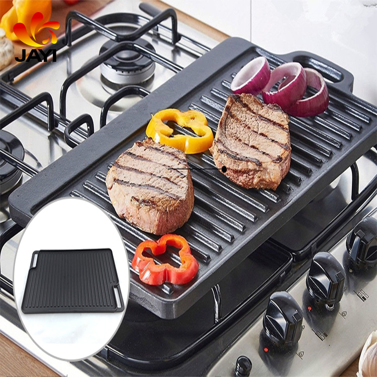Foshan pan Cast Iron Grill Griddle Nonstick Coating Reversible BBQ Pan With Double Burner Grill Griddle