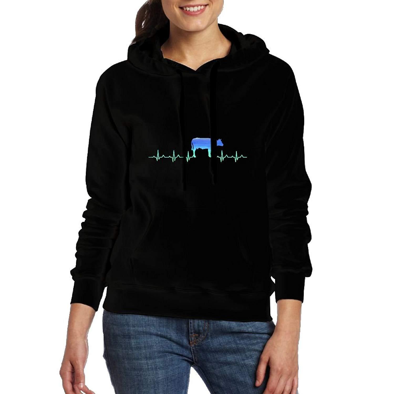 WE3sd Hoodies Heartbeat Cow Neon Women's Long Sleeve Sweatshirt Hoodie Soft Pockets Hoodie Tops Hoodies