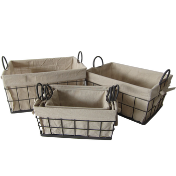 Hot sale storage basket metal wire with liner