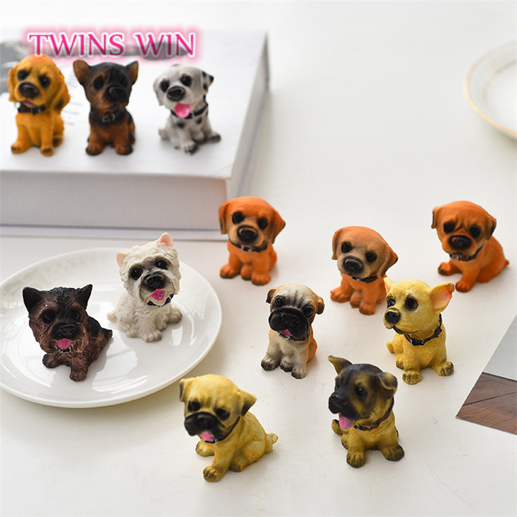 Hot sale in America Wengzhou crafts Simulated <strong>animals</strong> 12 pcs dogs creative <strong>animal</strong> ornaments cute small crafts for car