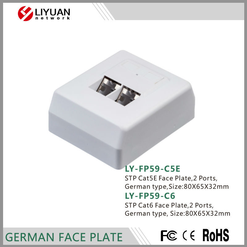 LY-FP59-C6 CAT6&CAT6A keystone German Flush wall plate