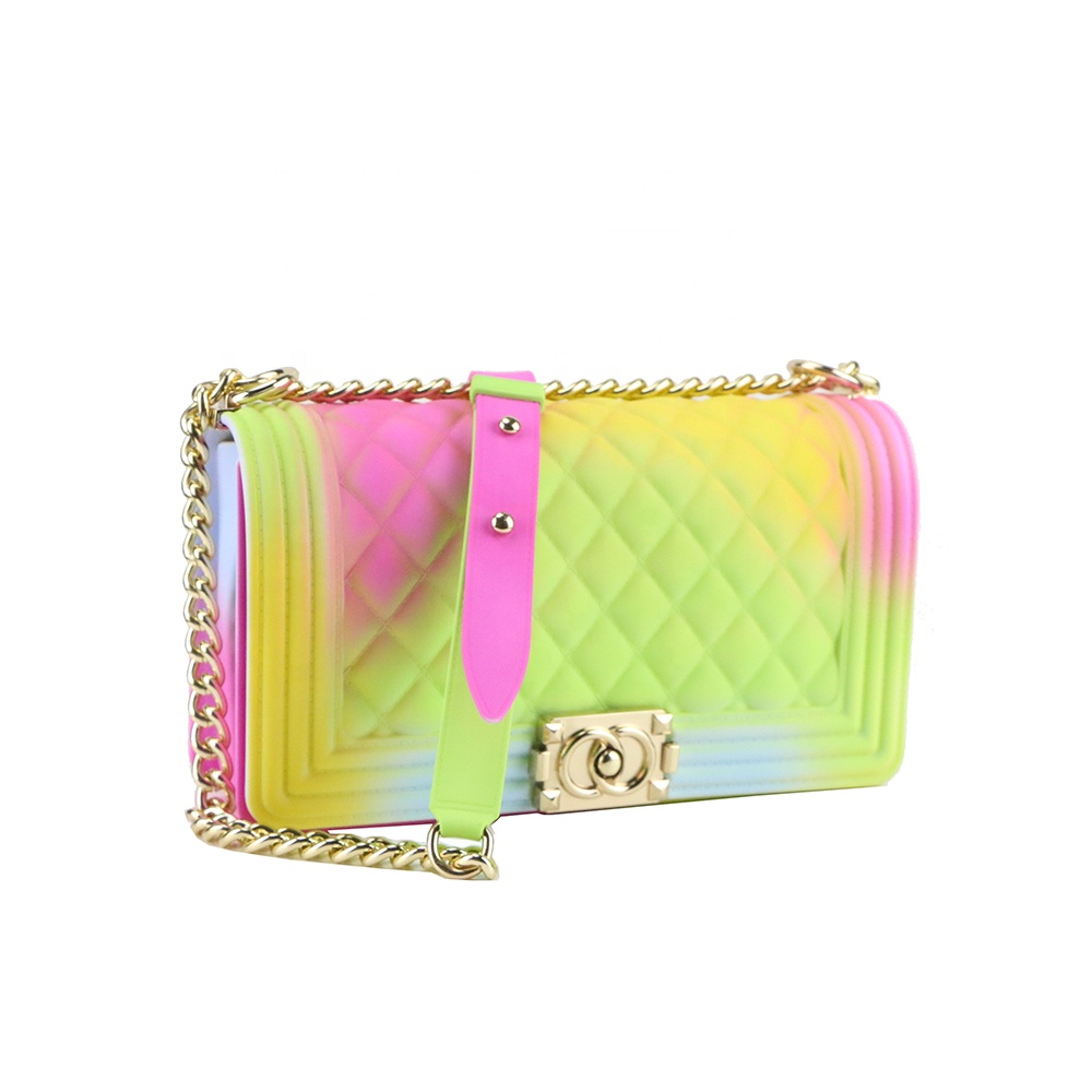 2019 New Arrivals Hot sell Tricolor Jelly Purse Bags PVC Plaid Matte Colorful Ins Girl Crossbody Bag Stocks