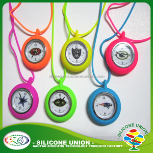Hot sale durable silicone necklace pocket watch,hang watch