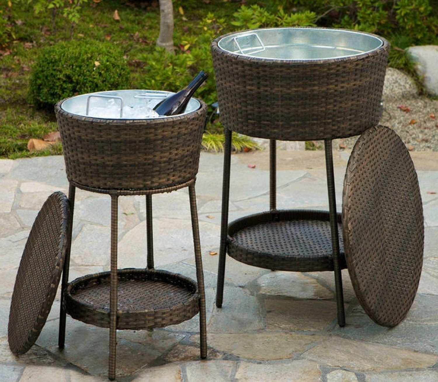 NEW Set of 2 Drink Serving Ice Buckets Cooler w All-Weather Resin Wicker Stands