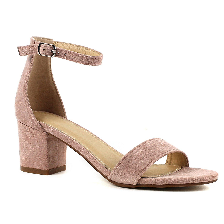 9c40718d2 Get Quotations · Women's Fashion Ankle Strap Kitten Heel Sandals - Adorable  Cute Low Block Heel – Jasmine
