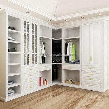 L Type White Wardrobe Closet For