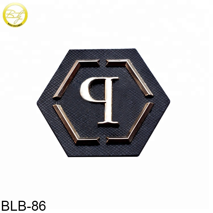Custom metal logo Pu leather printed patch/label/tag for clothes