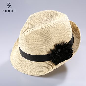652a0bfc18521 Natural Color Paper Straw Weaving Spanish Straw Hat With Big Black Flower