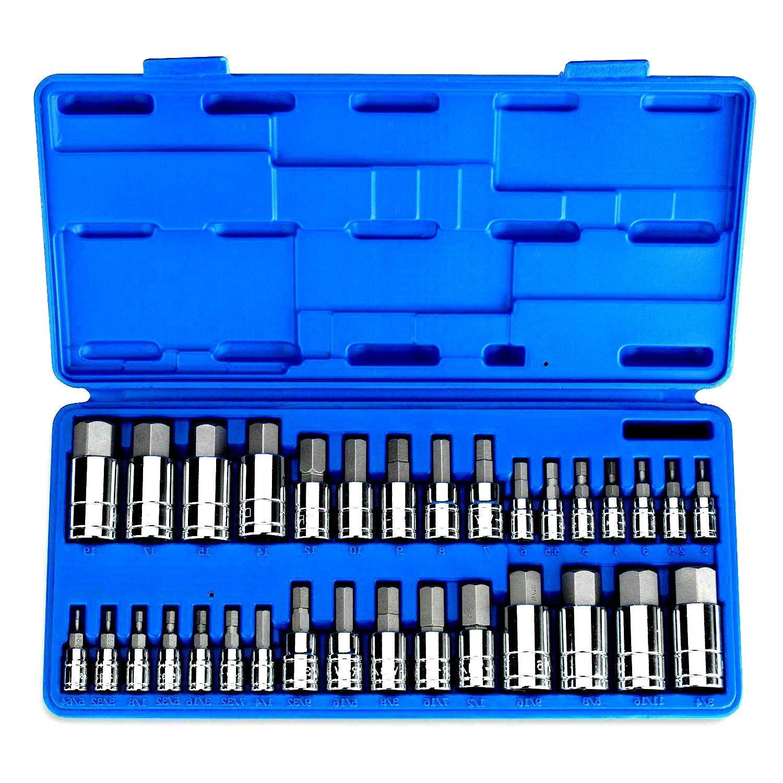 "Car Tool Box Hex S2 Steel Bit Set Master Chrome Vanadium Sockets Automotive Repair Kit Complete Set SAE & Metric Socket Pack Standard Allen 1/4"" 3/8"" 1/2"" 32 Pieces Truck Motorcycle - Skroutz"
