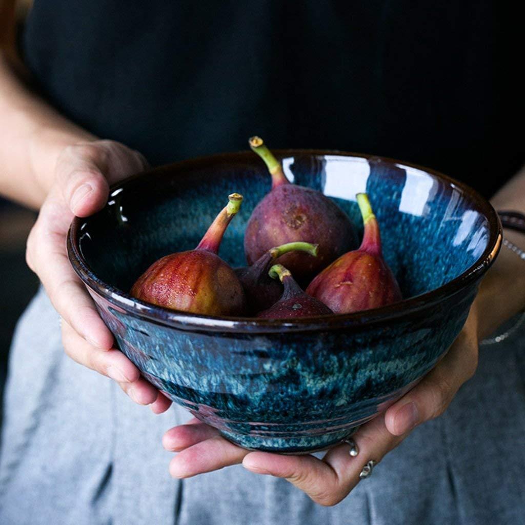Creative tableware water salad bowl European pasta bowl rice bowl household ceramic ramen bowl soup bowl blue (Size : 189cm)
