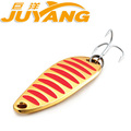 4pcs JUYANG Genuine Brand Single Curve III Spoon Surface Lure Carp Fishing Metal Stosh Bait Treble
