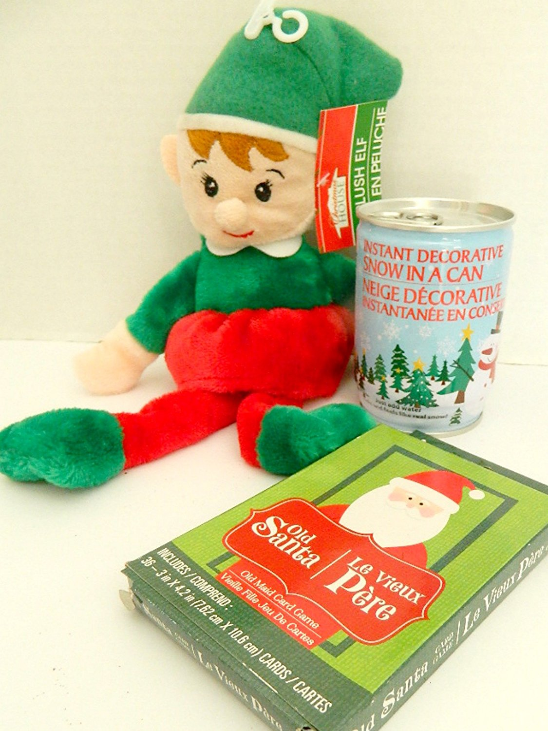 3 pc Christmas Elf Boy Plush Toy, Crazy Eights Card Game and Instant Snow Bundle