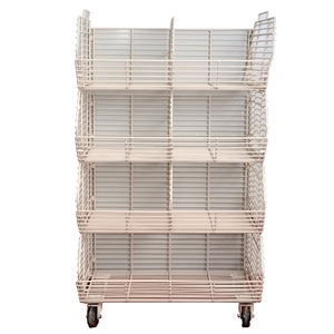 supermarket retial pos display rack metal material floor stand basket wire shelf dump bin grid tower display rack