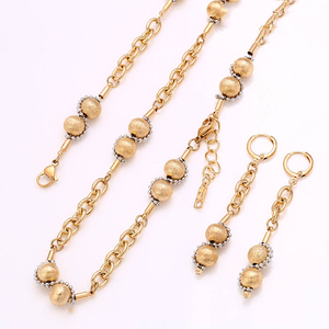 Wholesale copper alloy gold plated hot sale african chain with beed jewelry set