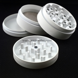 wholesale FREE custom logo design 4 part special matte herb weed grinder,6 colors available, portable pouch and brush ,scraper
