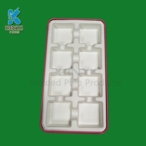 Bagasse pulp molded chocolate paper tray packaging