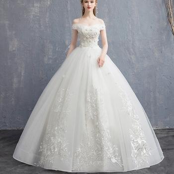 Off Shoulder Little Wedding Dress Appliqued Romantic Rose Flowers