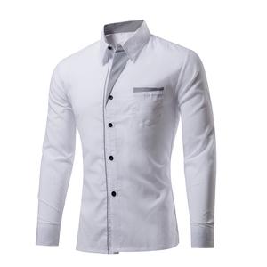 Wholesale Luxury Stylish Mens Custom Logo Long Sleeve Slim Fit Latest White Shirt Designs For Men's Dress Shirt Office Wear