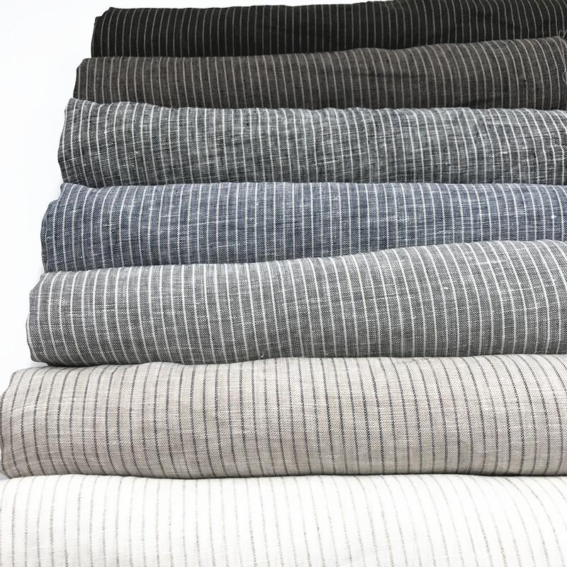 Wholesale Home Textile 100% Linen Fabric Striped Linen Fabric