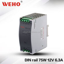 ISO9001 75W dinrail model power 220v 12v 6a switching power supply