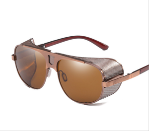 HJ 2019 mental oval sunglasses polarized metal frame all-around light-shield one piece lens steampunk mental sunglasses