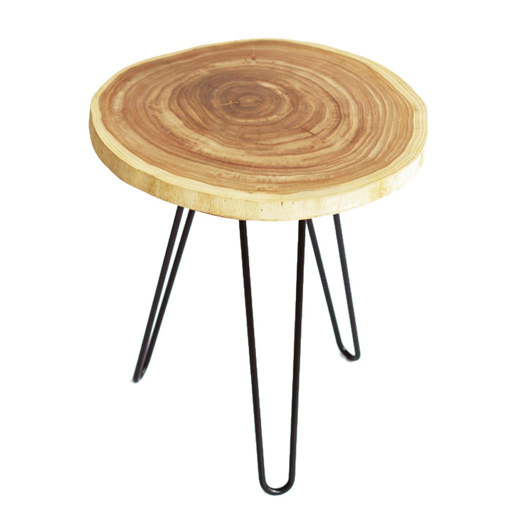 Coffee Tables Wrought Iron Solid Wood Brown Oval Side Table (Color : Beige, Size : 454547cm)