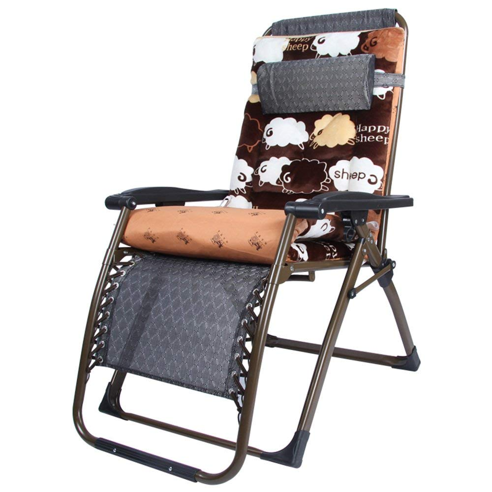 Rocking Chairs MEIDUO Folding Chair Zero Gravity Lounge Chair Padded Adjustable Recliner With Headrest Support 300kg (Color : Small waves)
