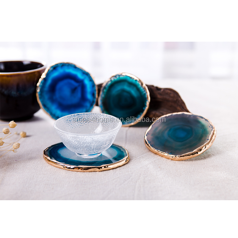 Agate slices cup coaster mats pads wedding cup decor stone slices decorative jewelry coaster gold trim silver trim carved stone