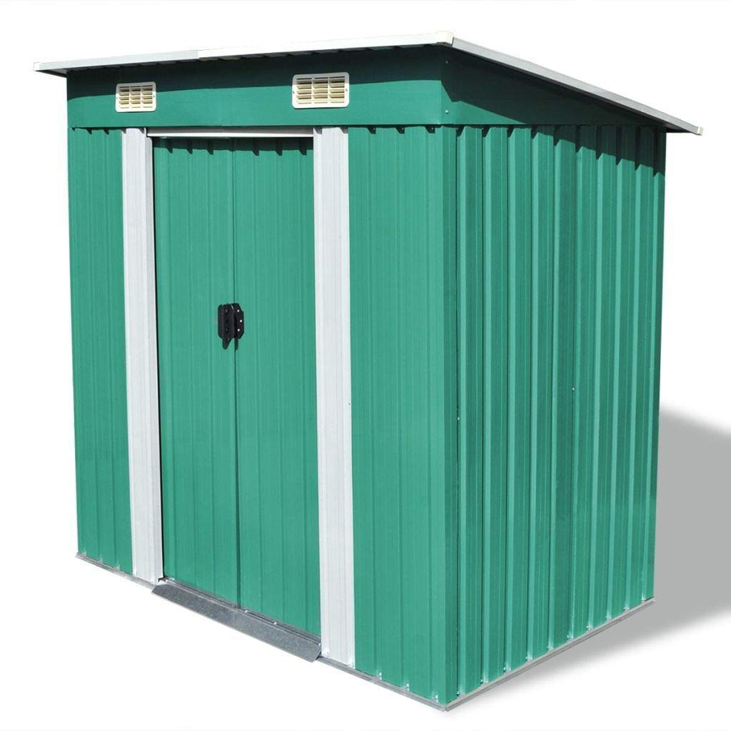 "Garden Patio Outdoor Metal Storage Unit Shed - 74.8"" x 48.8"" x 71.3"" - Green"