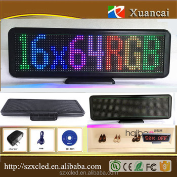 New! Full color P4.75-16x64RGB(33x10x2cm) Bluetooth mobile phone app LED desktop display