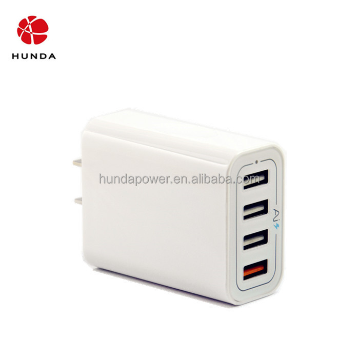 4 Ports USB Wall Charger Travel Charger/Adapter Qualcomm Certificated with For Cellphone, GPS, Car DVR