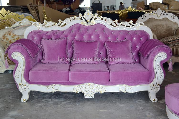 White Wooden Wedding Chair Purple Fabric Sofa Set Dwl929 Buy