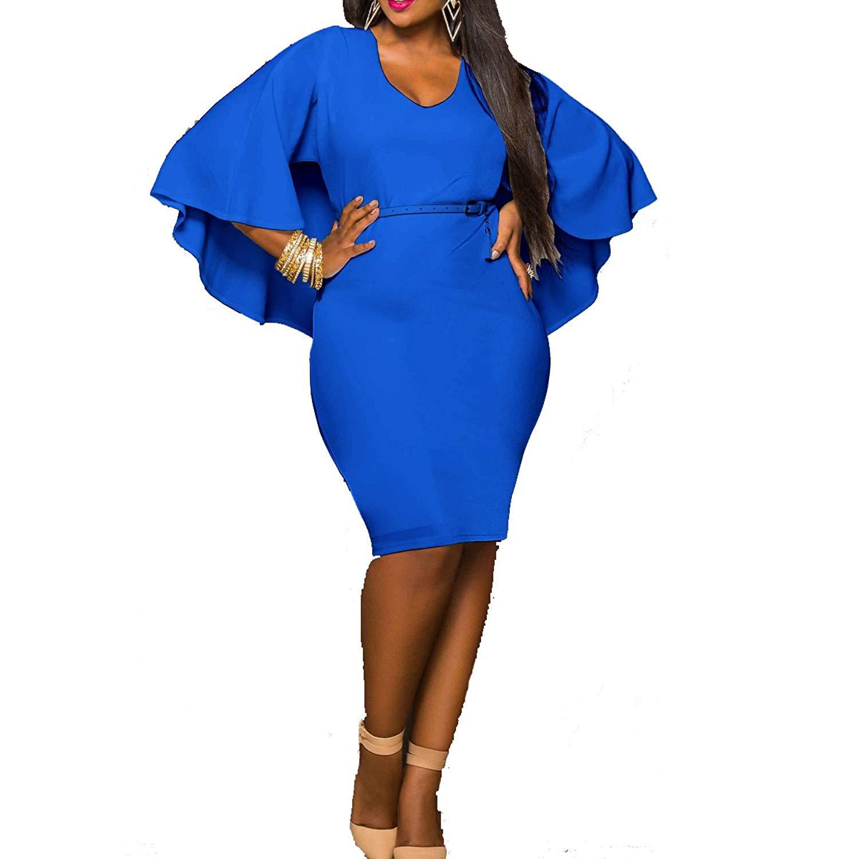 78e9091b8c Get Quotations · Leezeshaw Women Casual Plus Size Bat Sleeve Tunic Bodycon  Party Midi Dress