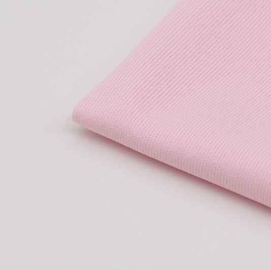 wholesale natural pink 100% <strong>polyester</strong> 1X1 flat back rib fabric