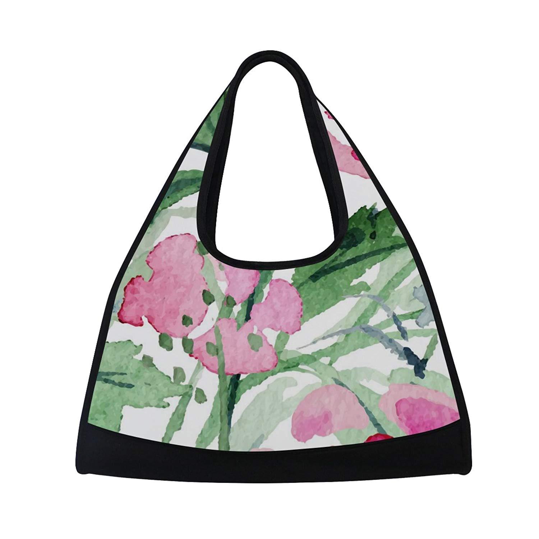 Sport Gym Bag Watercolor Leaf Flower Canvas Travel Duffel Bag