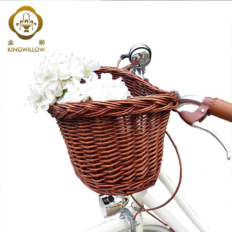 Nieuwe ontwerp verwijderbare rieten fiets fietsmand voor bike hand bar