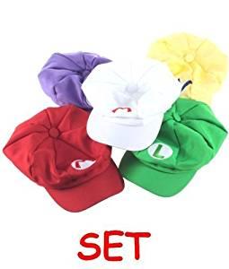 50e0a3c3658cf5 Get Quotations · Super Mario Kart Hats: Mario, Luigi, Wario, Waluigi and  Fire Mario Caps