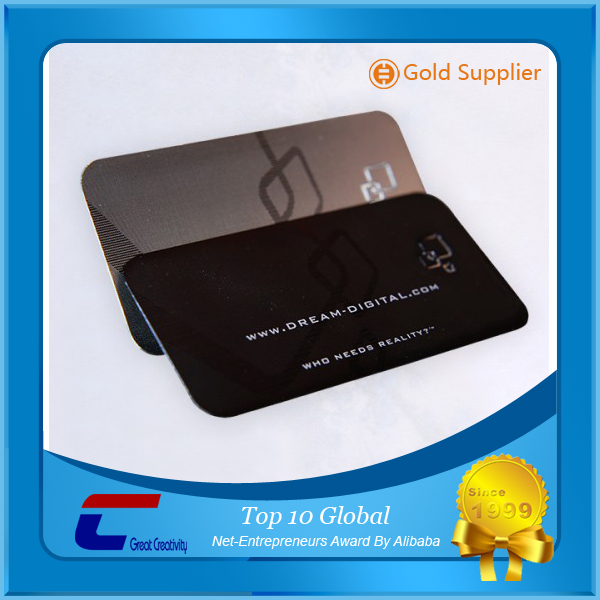 Noble plating black matt stainless steel card etch logo/ letter brushed metal business card