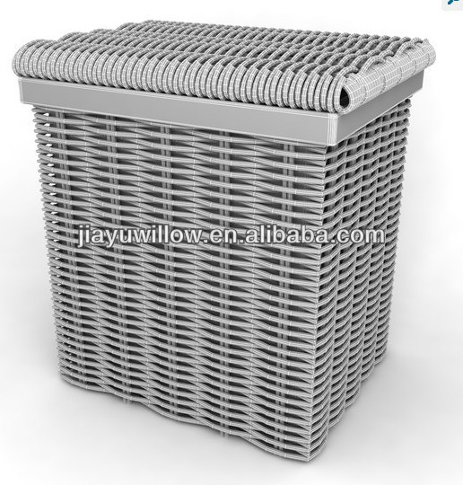Gray Grey Square Large Wicker Laundry Baskets With Lid Storage Basket
