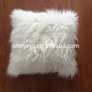 White Faux Fur Sheepskin Pillow Mongolian Tibetan Lamb Fur Throw