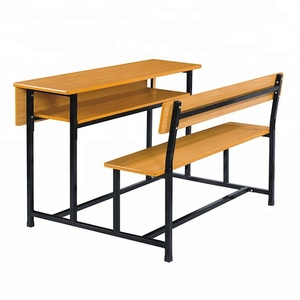Hot sale wooden school desk and bench