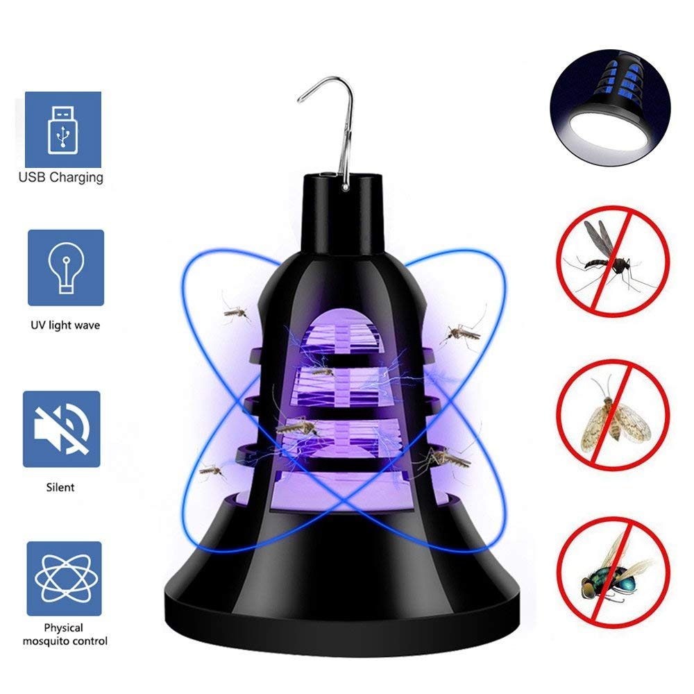 Leegoal Mosquito Killer Lamp, [New Version] 2 In 1 USB Powered Bug Zapper LED Mosquito Killer Light Flying Insect Trap for Indoor/Outdoor/Kitchen/Garden/Patio/Camping/Travel
