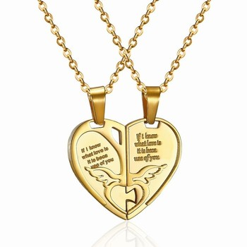 c323141530 18k Gold Plated Half Heart Necklace For Couples - Buy Half Heart ...