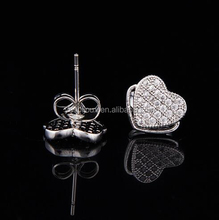 apple shaped paved zircon stud earrings bijoux